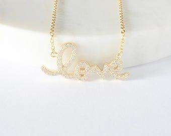 SALE - Love CZ Necklace - Love Necklace - Diamond Necklace