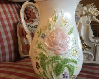 Farmhouse Shabby Chic Floral Bouquet Pitcher