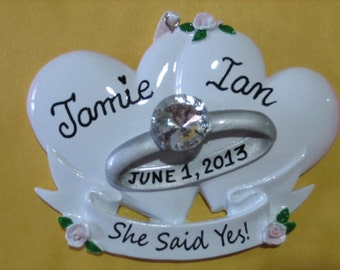 Personalized Engagement , She Said Yes, Will You Marry Me,  Bride and Groom  Christmas Ornament- Engagement  Gift , Favor
