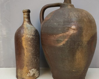Pair of FRENCH Large Primitive Stoneware Bottles. Reds, rust browns, grays and black. Stunning example with very unusual pattern Calvados