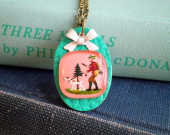 Vintage Intaglio Necklace - Huntsman & Dog Kitschy Woodland Charm Necklace - Retro Pink + Teal Blue Hunting Scene Bow Jewelry Gift for Her