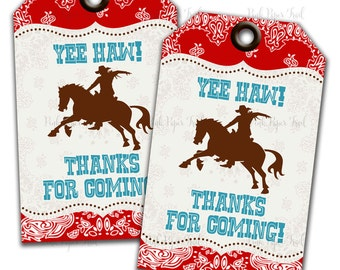 Cowboy Party Thank You Tags, Instant Download, Print Your Own