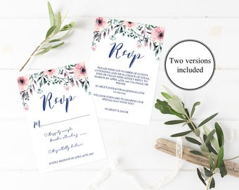 Floral Wedding Rsvp Cards Wedding Pink Wedding Invitation Insert Flower Wedding Response Cards Rsvp Template Rsvp Card Template Insert SPG1