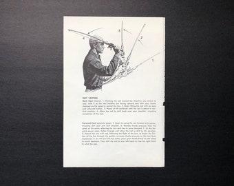 c. 1963 - FISHING PRINT - original vintage print - bait casting print - fresh water fishing - angling print -