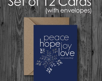 Set of 12 - merry everything! peace • hope • joy • love - Holiday Greeting Cards