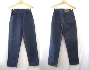 90s Levis 550 High Waist Relaxed Fit Dark Blue Denim Jeans Tapered Leg Vaporwave Pastel Goth Grunge Minimalist Boho 28x30 // Small