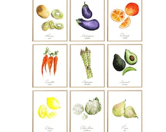 Kitchen Wall Decor, French Kitchen Art, Fruits and Vegetable Prints, Housewarming Gift, Food Artwork, Cooking Gift, Dining Room Art Set of 9