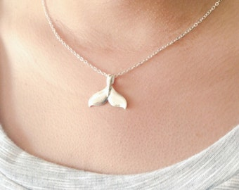 Silver Whale Tail Necklace, Mermaid Necklace
