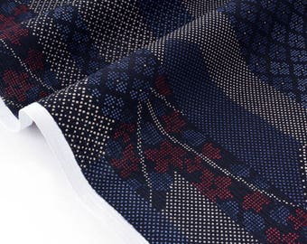 Japanese silky soft traditional geometric Navy blue cotton fabric x 50cm