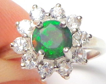 SALE, Sz 7.5, Black Welo Opal Ring, Natural Gemstone, Sterling Silver/White Gold Ring, CZ Halo, Ethiopian Opal Ring, Fine Jewelry