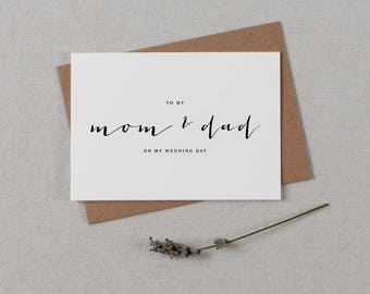 Wedding Card To My Mom + Dad On My Wedding Day, To My Father Wedding Card, To My Mom Card, To My Dad, Parents Wedding Card, Wedding Note, K4