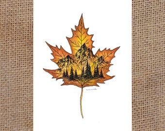 Little Maple Leaf - Watercolor Print 5x7""
