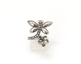 Large 925 Sterling Silver Dragonfly Wrap Statement Ring, Ring Size 8.5, Vintage Ring, Gift For Her