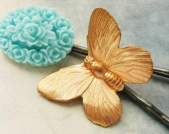 bridesmaid hairpins, Butterfly flower cameo, aqua blue flower bobby pins, bridal wedding hair accessories