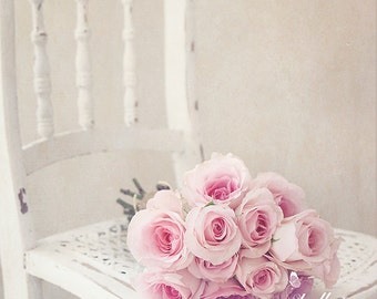 Flower Photography- Bouquet of Roses Photo, Floral Still Life, Pink Roses Print, Pink and White Wall Art, Nursery Decor, Feminine Decor