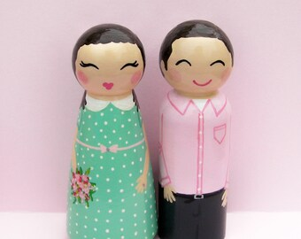 Hand Painted Love Boxes Custom Anniversary Engagement Couple Cake Topper Peg Dolls Wood