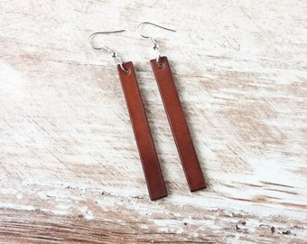 Leather bar stud earrings, Bar stud earrings, Leather earrings bars, Bar earrings,  Long earrings, Leather earrings, Joanna earrings