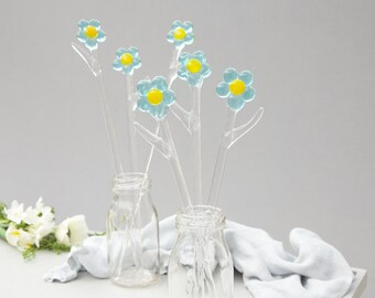 Glass Forget Me Nots, handmade glass flowers, Mother's day gift, Valentine's day flowers, gifts for her, birthday present, present for mum