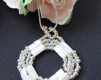 White and Silver Tile Pendant Necklace