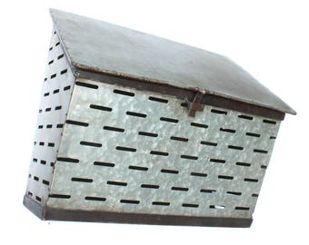 Galvanized Tin Wall Mount Olive Bin Container Mail Box Old Fashioned