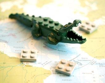 Fridge magnets made with LEGO(R) bricks. Crocodile. Housewarming gift