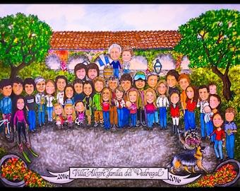 Custom caricature, winery, wine, vineyard, caricature portrait, portrait caricature., portrait cartoon, cartoon portrait, family portrait