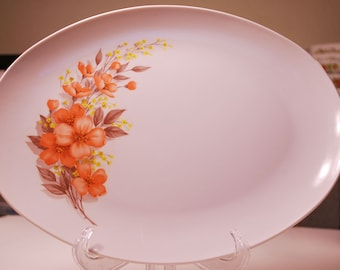 Vintage Mar-Crest Melmac Melamine Platter with Orange/Peach/coral Flowers