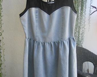 Lightweight Denim Color and Black Mesh Short Dress by Charlotte Russe
