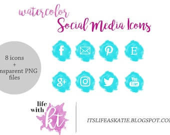 Watercolor Social Media Icons, Blog Buttons, Bright Blue and White, PNG, instant download