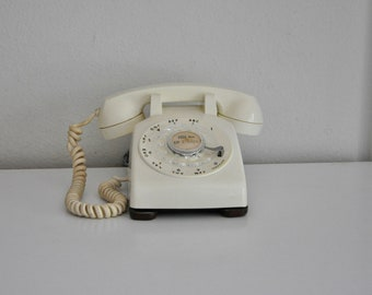 ON SALE Vintage White Ivory Rotary Phone Western Electric Working Telephone 500 DM