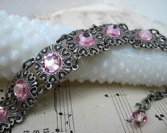 Light Rose Swarovski Heart Jewel Bracelet  B5