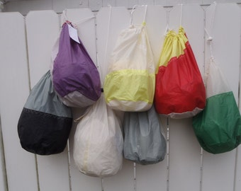 Recycled Sail Stuff Sack- Ditty Bag- one large and one small
