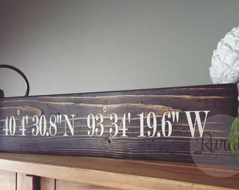 Longitude Latitude Barnwood Sign | FREE US SHIPPING, Home Coordinates Sign, Housewarming Gift, wedding gift, wedding present, shower gift