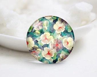 Handmade Round Flower Photo Glass Cabochons (P3420)