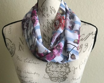 Flowers with white and blue stripes Silk Infinity Spring Womens Scarf