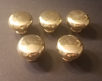 5 Salvaged Solid Brass Knobs/Gold Shiny Gloss Finish/Cabinet Knobs/Furniture Knobs/Home Improvement Supply