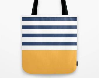 Navy blue stripes tote bag Navy blue stripes bag navy blue tote bag stripes tote bag coastal tote bag beach tote summer tote bag summer bag