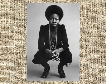 Nina Simone photograph, black and white photo print, framed vintage photograph, jazz art decor, anniversary gift for him or her