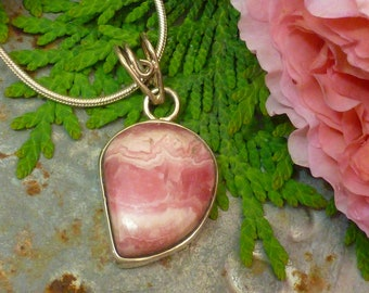 "PINK ARGENTINE Rhodocrosite STONE pendant and sterling silver 17"" snake chain necklace"