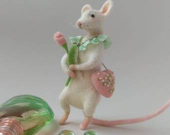 Downy mouse flower  Figure Decorative Felted toy Gift idea Miniature Handmade Spring time