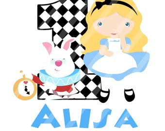 Alice in Wonderland Birthday Printable Digital Download for iron-ons, heat transfer, Scrapbooking, Cards, Tags, Signs, DIY, YOU PRINT