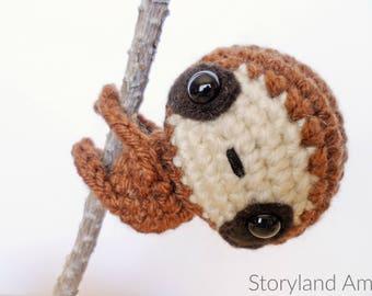 PATTERN: Zippy the Baby Sloth Amigurumi, Crocheted Sloth Pattern, Sloth Toy Tutorial, PDF Crochet Pattern