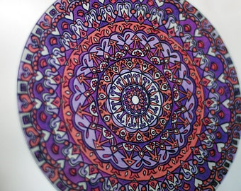 Mandala Suncatcher in Purple and Orange - Bohemian Home Decor - Window Decor - Geometric Psychedelic