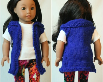 """Sweater Vest, American Made for Girl Doll, Hand Knit Sweater  18"""" doll clothes, Hand Knit Clothes, Doll Vest,  Doll Sweater, Hoodie"""