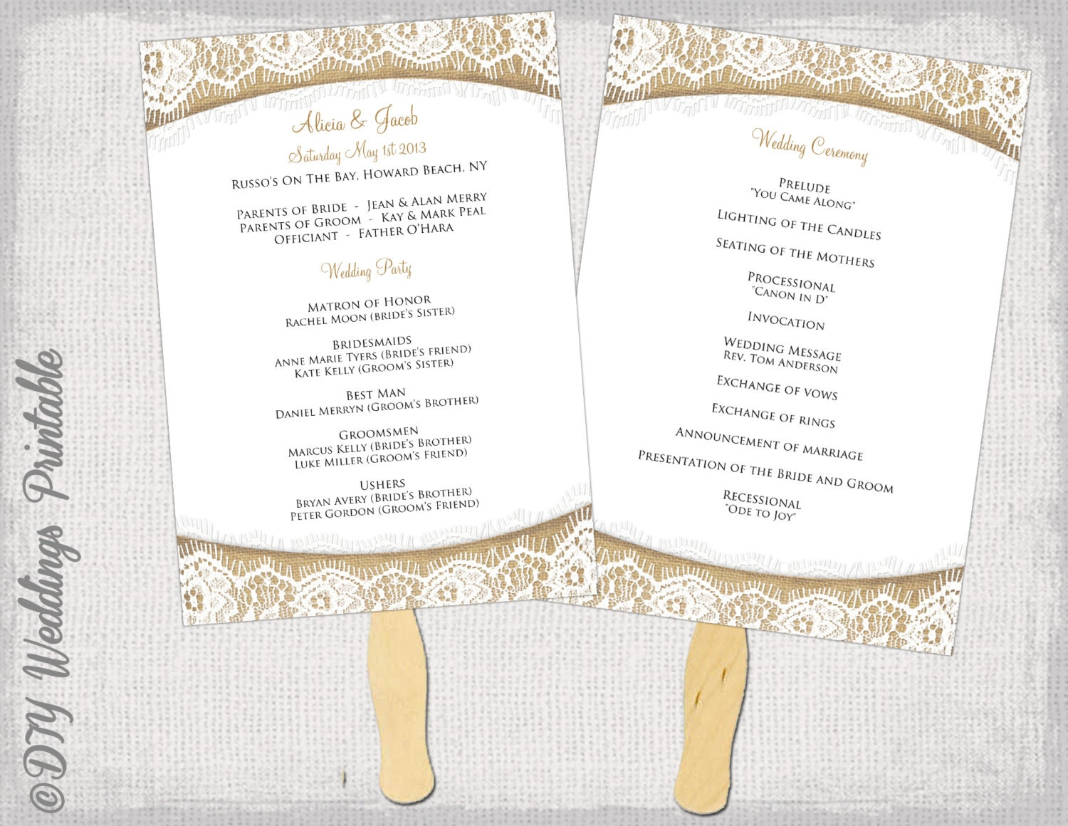 Wedding program fan template rustic burlap lace zoom pronofoot35fo Image collections