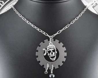 Steampunk Pirate Silver Necklace - It's a Pirate's Life For Me by COGnitive Creations