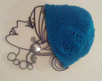 aqua puff stitch hat