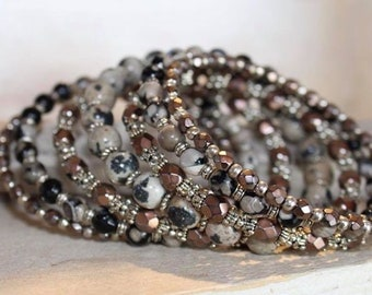 Darling Dalmatian Multi Strand Gemstone Memory Wire Bracelet