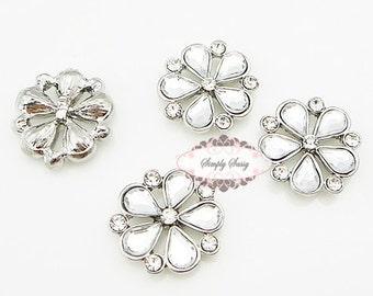 10 pcs Rhinestone Embellishment Flatback Crystal Metal Buttons Wedding Bridal bouquets invitations favors hair  RD213 17mm