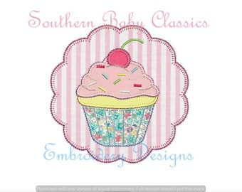 Cupcake  Scallop Circle Frame Blanket Stitch Design Applique File for Embroidery Machine Instant Download Birthday Cherry Sprinkles Cup Cake